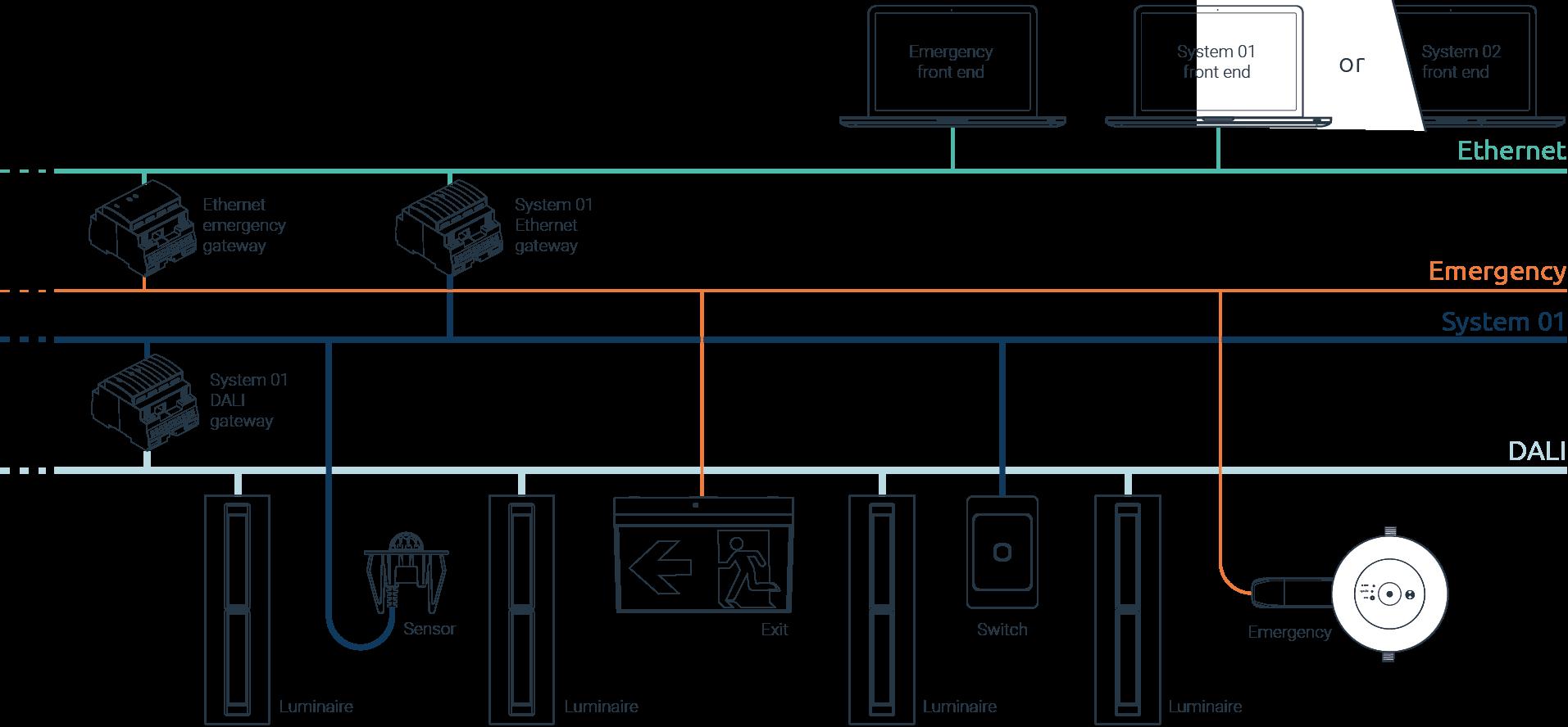 Traditional DALI lighting control - wiring