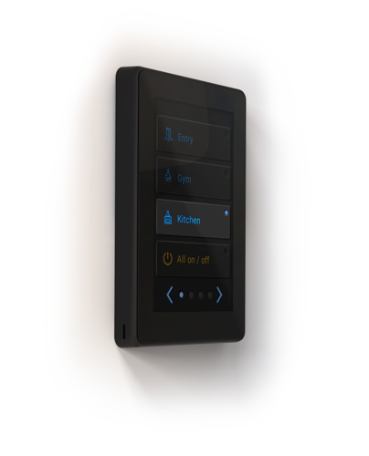 Smart Switch display render with examples of buttons: kitchen, on/off, gym, entry